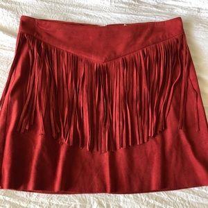 Forever 21 Suede Fringe Skirt- Brick Red